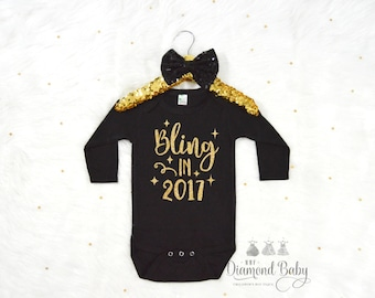 Bling in 2017 Onesie -New Year Baby Onesie-Happy New Year Onesie-New Year Outfit-New Year Onesie