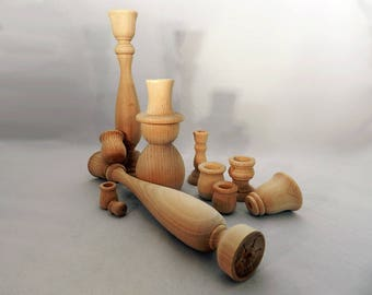 Unfinished Wooden Candle Cups & Candle Sticks
