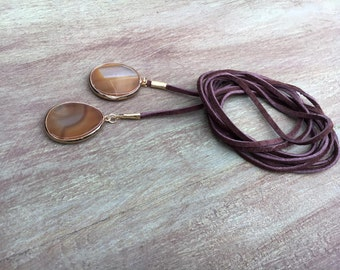 Leather Agate Wrap Necklace, Leather Wrap Necklace, Brown Leather Lariat, Brown Agate Leather Lariat, Agate Slice Leather Wrap Necklace