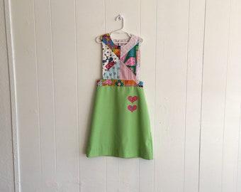 Chocolate Soup Girls Vintage Patchwork Pinafore Dress Sz 12