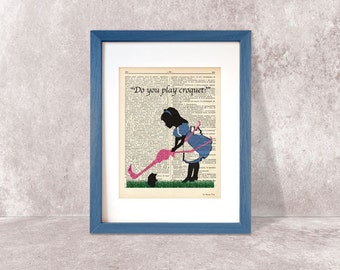 Alice plays Croquet print-Alice in Wonderland print-Alice on book page-Nursery wall art-Alice Dictionary print-design by NATURA PICTA-DP054