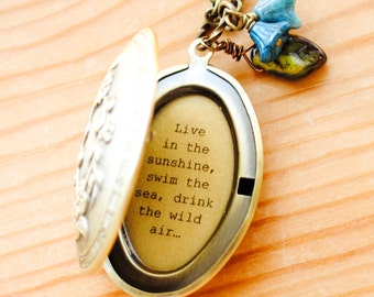 Live in the sunshine, swim in the sea, drink the wild air - Ralph Waldo Emerson Quote Locket - Nature Lover, Breathe