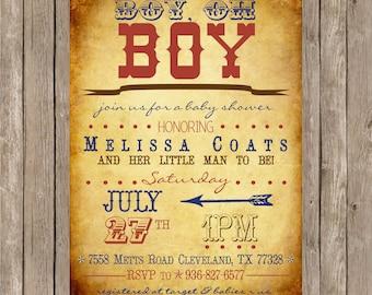 Vintage Western Baby Shower Invitation / Western Baby Shower Invitation /  Western Bridal Shower Invitation /