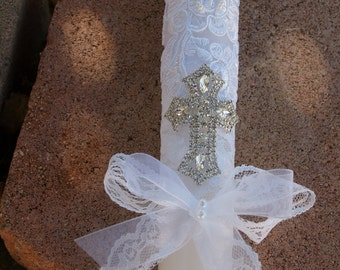 White Baptism Candle beautiful beaded lace Crystals cross, Christening, Presentation Ceremony Traditions, Girl