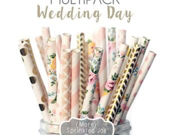 Blush, Gold, Light Pink, Peach, Paper Straws, Flowers, WEDDING DAY, Wedding, Damask, Dots, Vintage, 25 Straws, Stripes, Shower, Party