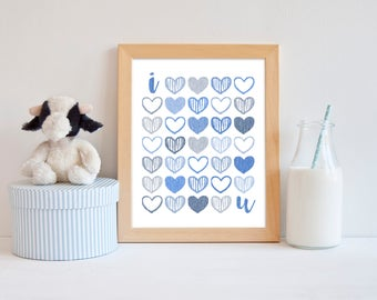 "Instant Download - Wall Art Printable - ""I <3 u"" - home decor, nursery wall art, I love you, I heart u, blue & gray"