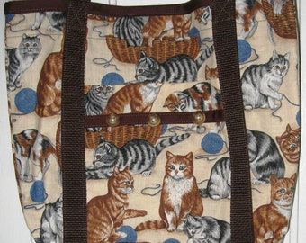 Cat Tote Bag Brown with Gray and Brown and Striped Tabby Cats