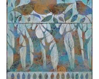 Bird Song, Painting on Canvas, 16x16 Original Art, home decor