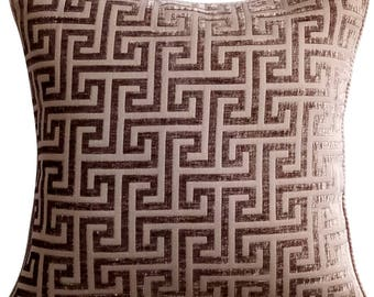 "Decorative Throw Pillows Covers 18""x 18""Taupe Brown Silk Jacquard Velvet Pillow, Modern Geometric Couch Pillows - Maze Me"