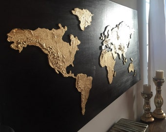 3 piece extra large gold leaf 36 x 72 original world map large original world map painting world map map art globe painting world map canvas painting 3d gold world map gumiabroncs Choice Image
