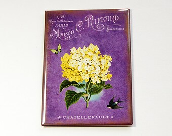 Flower Magnet, Kitchen magnet, Fridge magnet, ACEO, stocking stuffer, Magnet, Floral, Purple, Yellow  (4566)