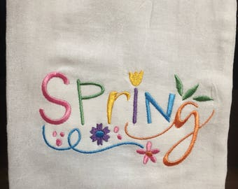 Spring embroidered flour sack towel