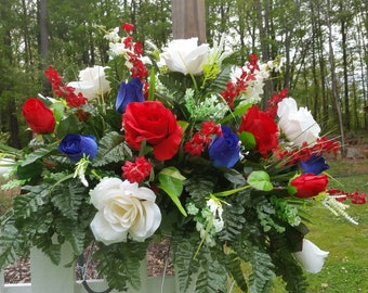 Patriotic Cemetery Saddle With Beautiful Red, White And Blue Roses, Accents of Red And White, Red Bellflowers, White Foam Filler And Silk