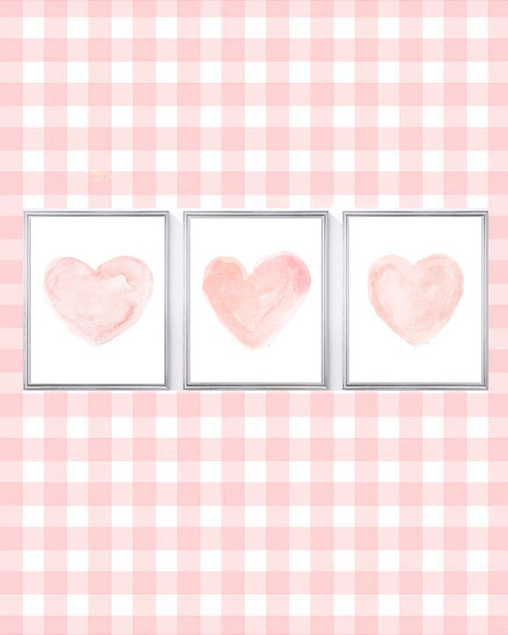 Blush Nursery Prints, 8x10 Set of 3 Watercolor Hearts