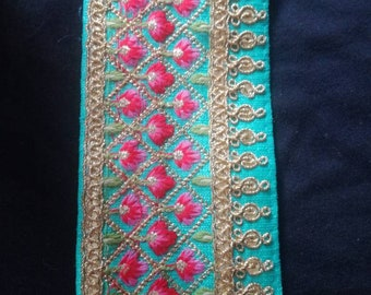 Turquoise embroidered trim
