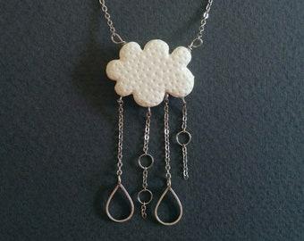 Cloud and rain. Unique necklace.