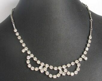 SALE Scalloped  Rhinestone Necklace