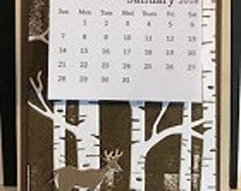 Deer Calendar With Business Card Holder 2018-2019