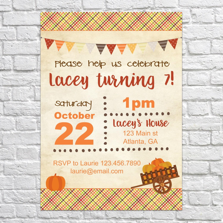 Printable Digital File Harvest Party unique invitation wedding