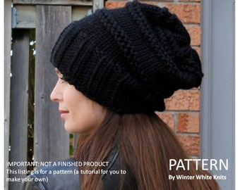 Knitting pattern, knit hat pattern, slouchy hat pattern, Instant Download, Make it yourself knit hat, pattern 0049, knitting tutorial