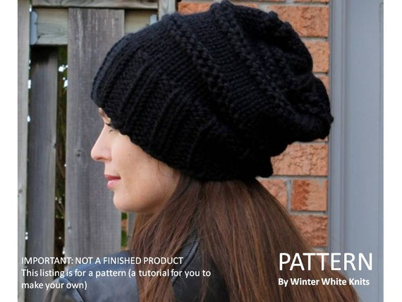 Knitting Pattern Knit Hat Pattern Slouchy Hat Pattern
