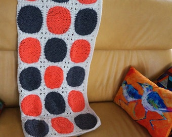Modern Afghan Circle Afghan Crochet Throw Lap Blanket Urban Loft Circles Coral Gray White