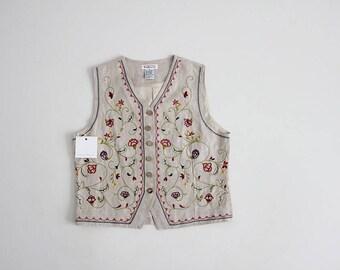 90s linen vest   floral embroidered vest   folk floral vest