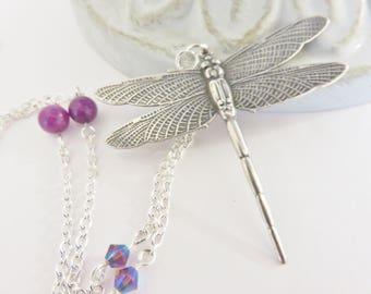 Silver Dragonfly Necklace, Purple Dragonfly Necklace, Silver Dragonfly Pendant Necklace, Silver Dragonfly Jewelry, Bohemian Jewelry, Twee