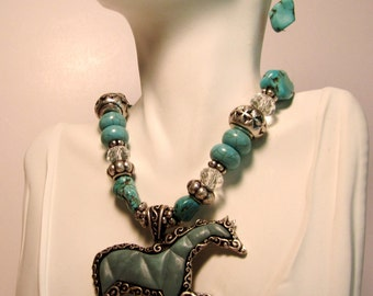 Galloping Stallion Pony,  Howlite Turquoise and Silvertone Necklace and Earrings    (#557)