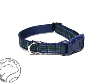 "Modern Douglas Clan Tartan Small Dog Collar - Thin Dog Collar - 1/2"" (12mm) Wide - Navy Blue Plaid - Choice of style and size"