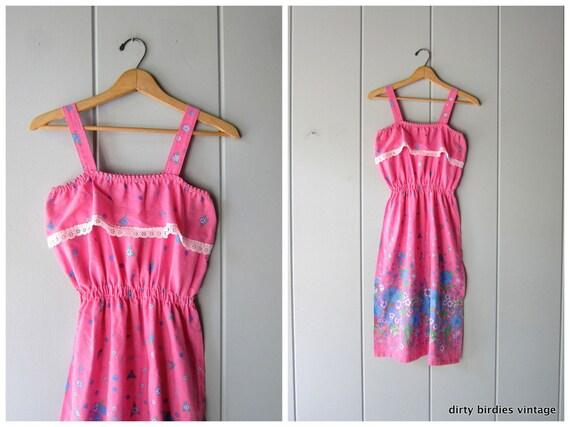 Vintage 80s Midi Sun Dress Pink Floral Retro Sundress Boho Flirty Summer Dress Basic Hipster Pin Up Apron Dress Vintage Womens Medium