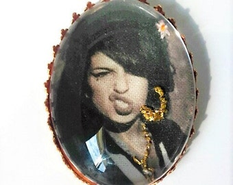Amy Winehouse hand embroidered brooch