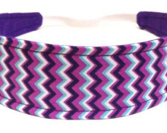 Girls Purple Headband, Kids, Baby, Toddler Headband, Reversible Fabric Headband - PURPLE & WHITE CHEVRON