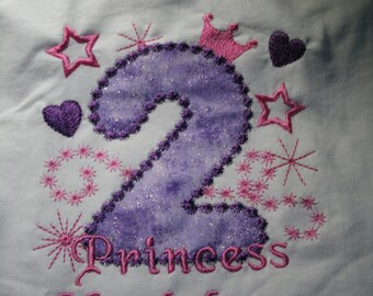 Glamour Princess Personalized  Birthday Number Shirt.. Custom Made Any Character, Number, Design or Colors  EMBROIDERED