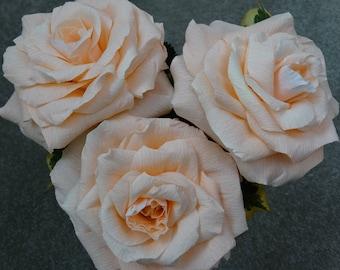 3 roses, crepe paper roses, paper rose, paper roses, paper flowers, paper rose bouquet, peach rose bouquet, wedding anniversary, bridal rose