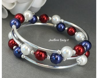 July 4th Jewelry Patriotic Jewelry Red White and Blue Bracelet Memories Wire Bracelet Pearl Jewelry Patriotic Gift USA Jewelry