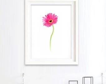 Print of Gerbera watercolour painting, flower art, botanical painting art print, pink flower illustration, modern decor