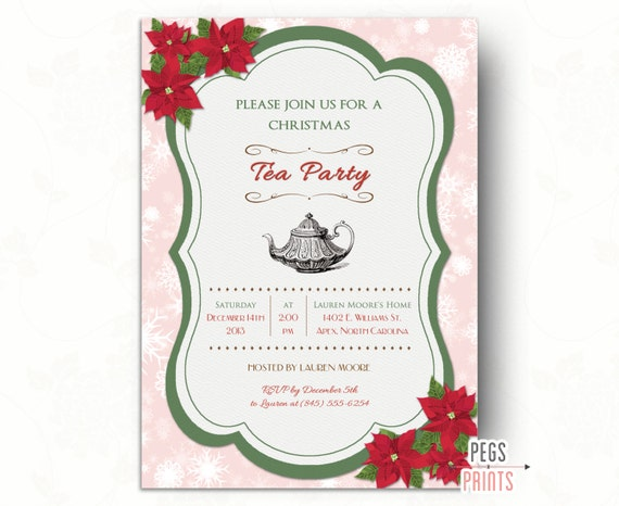items similar to christmas tea party invitation