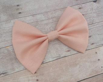 Solid Peach Fabric Hair Bow Clip or Headband / Peach Hair Bow / Peach Bow Clip / Peach Bow / Solid Peach Bow / Pastel Peach Bow Headband