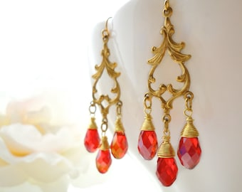 Chandelier Crystal Earrings Marie Antoinette Earrings Chandelier Bridal Earrings Gold Victorian Rococo Ruby Red Swarovski Crystal Chandelier