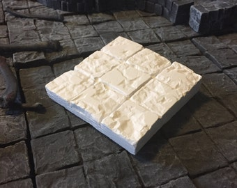 FOUR Unpainted Joined Custom Dungeon Tiles D&D Pathfinder Warhammer Dungeon Gaming Fantasy TableTop Terrain Miniature Roleplaying RPG