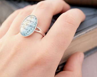 Sterling Silver Custom Map Ring Personalized Jewelry Novelty Custom City Ring Gifts for Women Personalized Ring with Any Place on Earth