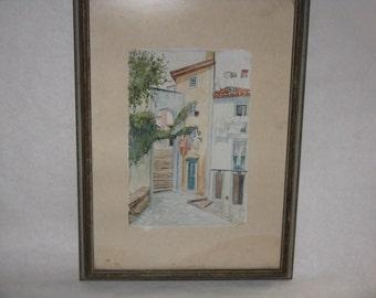 Vintage original watercolor painting framed signed A Lucas European Mediterranean scene
