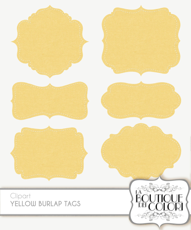 Clip Art Yellow Burlap Frames Labels tags Digital Frames