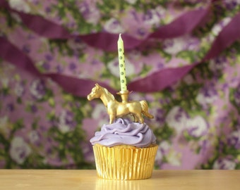Gold Animal HORSE / PONY Birthday Candle Holder