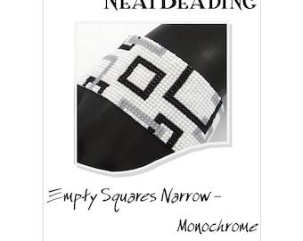 Pattern, Empty Squares Narrow - Monochrome, Beaded Bracelet, Peyote