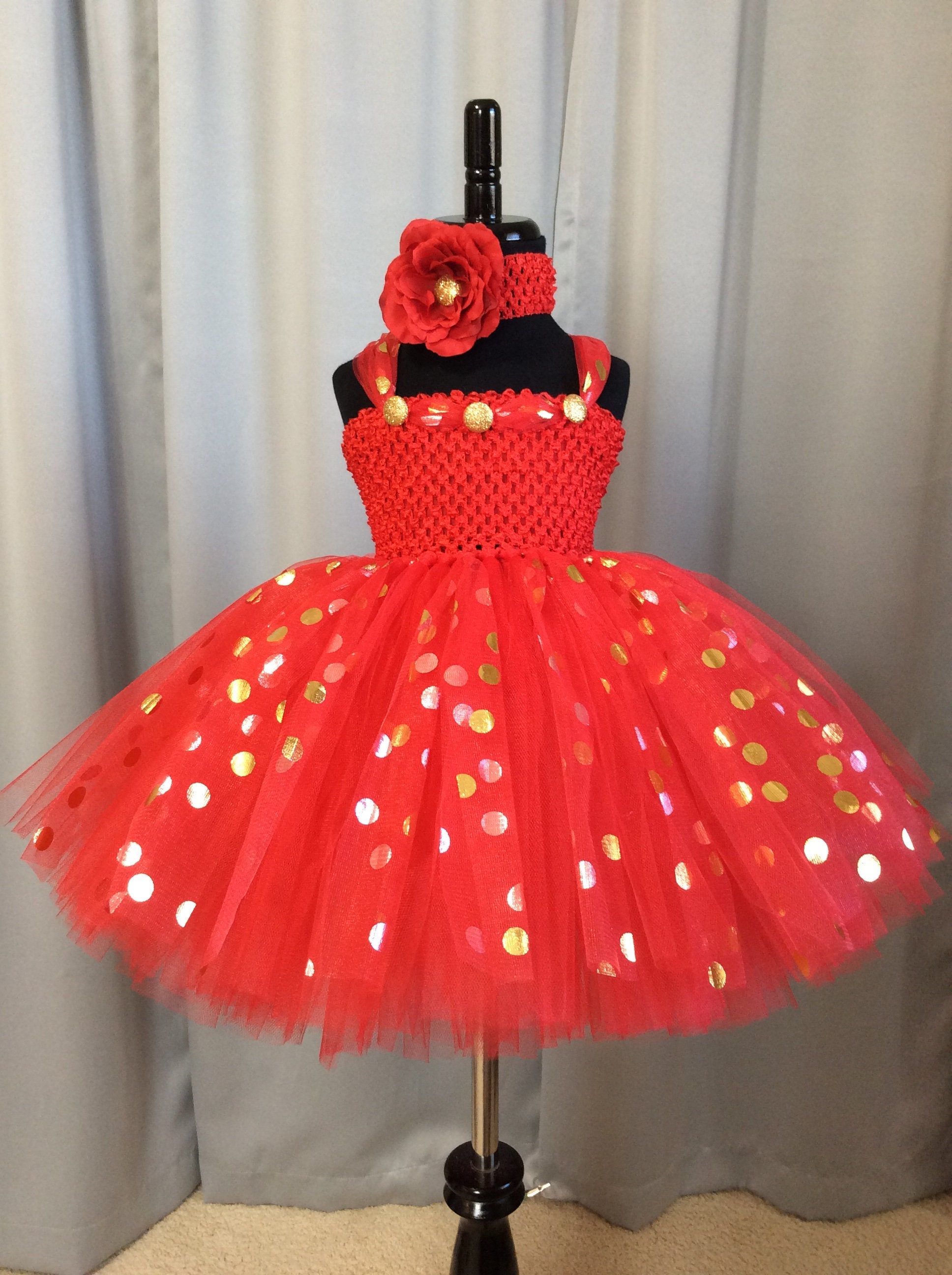 Red with gold & silver polka dot princess dress little girl tutu