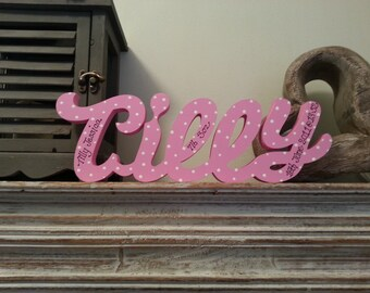 10cm Handpainted Freestanding Wooden Letters - Personalised Name - 5 letters - New Script