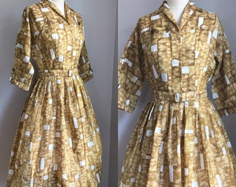 NOS Vintage 50's Meg Marlowe Full Skirt Novelty Print Dress Size Small