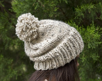 Chunky Knit Slouchy Hat Pom Pom Wool Beanie, Ribbed Knitted Slouch Toque, Textured Women's Warm Handmade Winter Accessory / OATMEAL